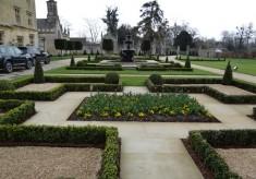 Farleigh House box gardens and fountain