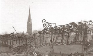 The West Stand takes a pounding from the bombs in 1942