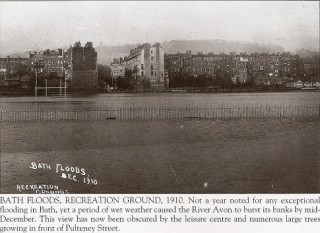 The Recreation Ground submerged in flood water in 1910
