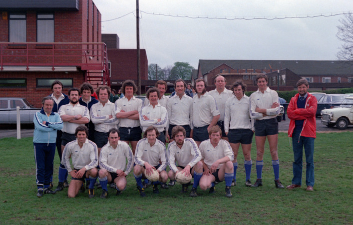 Back Row: Pete Pothecary (Kit); AN Other; Gareth Chilcott; Jon Roberts; Bert Meddick; Simon Jones; John Horton; Robbie Lye; Derek Wyatt; Gerry Parsons; Radley Wheeler; David Trick; Derek Barry; Gareth George (Physio). Front Row: John Davies; Damian Murphy; Mike Beese (Captain); Chris Bird & Nellie Gould