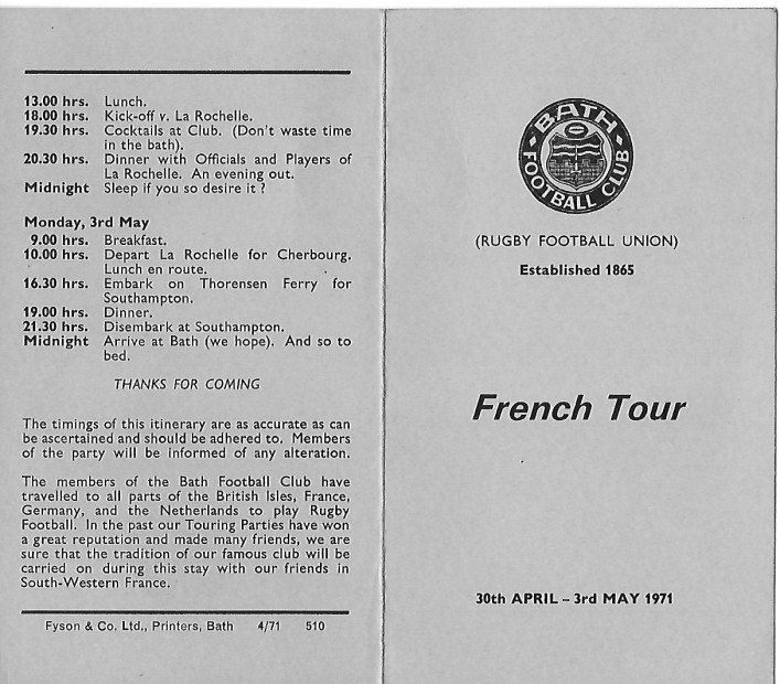 1971 Tour to La Rochelle