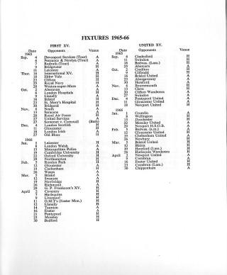 Centenary Fixture list 1965-66