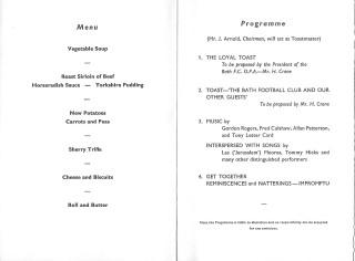 Old Players Centenary Dinner Menu Programme.