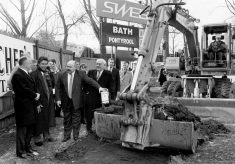 1994 Gareth Chilcott christens footings of South Stand